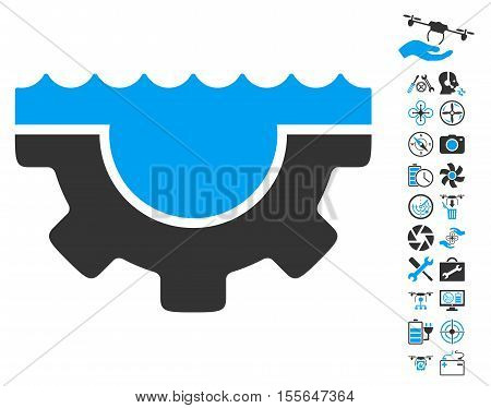 Water Service Gear pictograph with bonus airdrone service pictograms. Vector illustration style is flat iconic blue and gray symbols on white background.