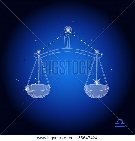 Libra Constellation, zodiac astrological sign, scales on a dark blue background