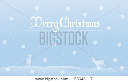 Silhouette of Christmas landscape with snow collection stock