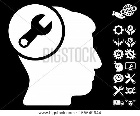 Head Wrench Repair pictograph with bonus tools pictograph collection. Vector illustration style is flat iconic white symbols on black background.