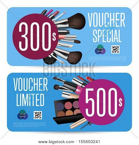Cosmetic voucher template vector. Gift voucher layout or discount voucher. Special offer coupon or gift voucher. Cosmetic voucher layout. Fashion voucher. Cosmetics product sale voucher. Promo voucher. Design of voucher. Promo coupon or voucher. Voucher.