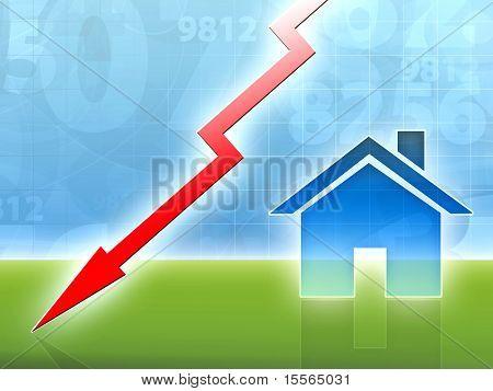 Property House Market Crisis Down Concept