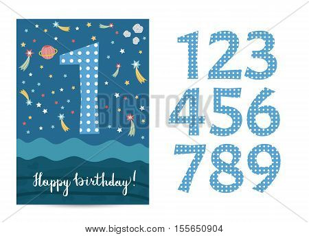 Happy birthday cartoon greeting card template with digits set on space theme. Colorful stars, saturn planet, asteriod vector on blue background. Editable invitation on childrens costumed party