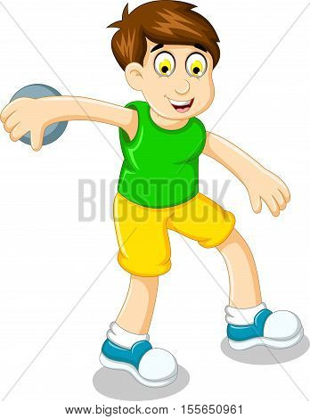cute boy athlete doing discus throwing for you design