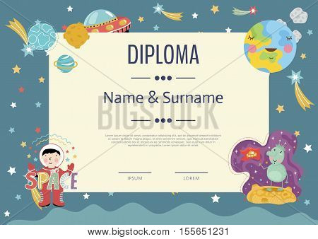 Kids diploma template. Preschool elementary school kids diploma. Kids certificate or diploma layout. Cartoon space diploma design. Decorative diploma certificate with cartoon space sign. Diploma child. Design of kids diploma or kids certificate. Diploma