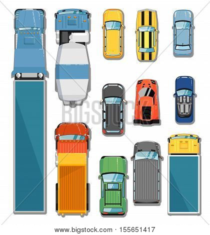 Car and truck top view vector illustration. Commercial freight truck, tipper, concrete mixer, city car, cabriolet car, hatchback car, sports car, muscle car, commercial van, suv in flat. Car icon. Car symbol. Cartoon car vector. Car isolated. Set of car.
