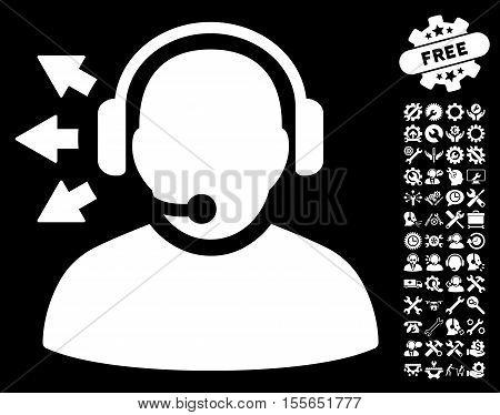 Operator Answer Speech icon with bonus configuration icon set. Vector illustration style is flat iconic white symbols on black background.