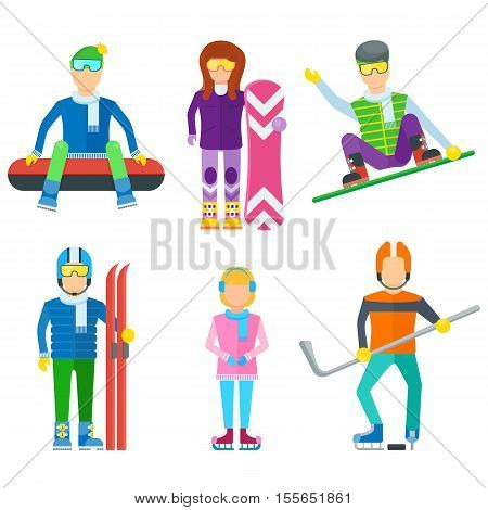 Active leisure people icons set. Winter extreme activity vector illustration. Hockey, snowboarding, skiing, ice skating. Winter holiday. People in winter sport equipment isolated on white background.