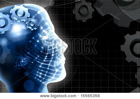 Human Head And Technology Background