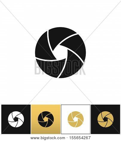 Camera shutter or photography diaphragm vector icon. Camera shutter or photography diaphragm pictograph on black, white and gold background