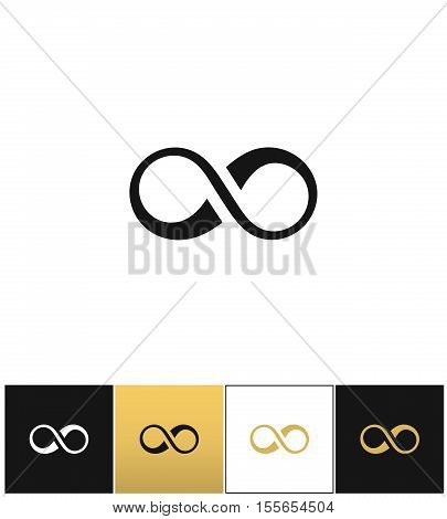Infinity symbol or cycle eternity vector icon. Infinity symbol or cycle eternity pictograph on black, white and gold background