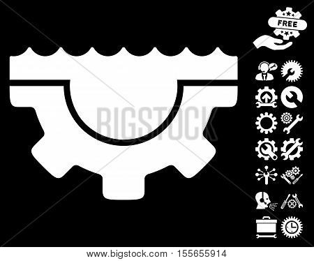 Water Service Gear pictograph with bonus settings icon set. Vector illustration style is flat iconic white symbols on black background.