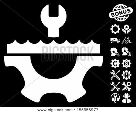 Water Service Gear icon with bonus setup tools pictures. Vector illustration style is flat iconic white symbols on black background.