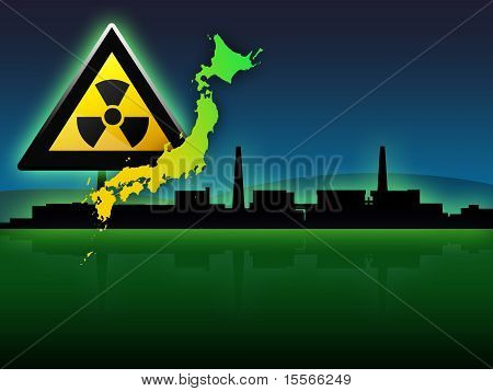 Japan Map Fukushima Radioactivity Sign