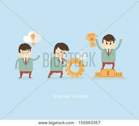Vector business concept - start up infographic design elements with man in flat style.