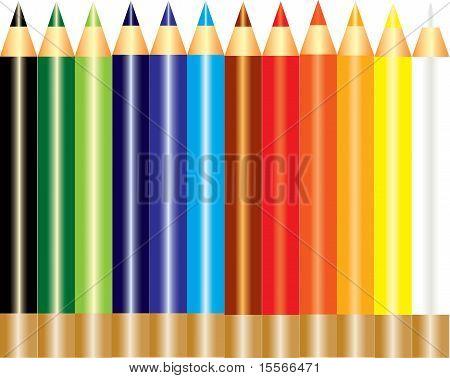A set of rainbow color pencils