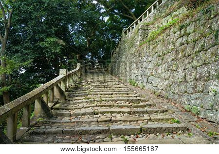 Steep Stone Stairs Surronded By Green Trees