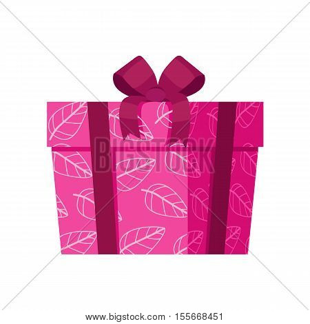 Pink gift box with white leaves isolated. Present box with fashionable ribbon and bow. Decorative stylish wrap for presents package. Modern packing product. Gift container web icon sign symbol. Vector