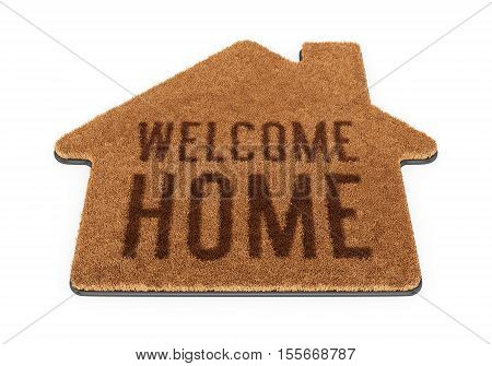 Brown house shape coir doormat with text Welcome Home isolated on white background. 3D illustration