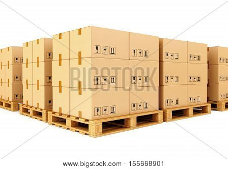 Stacks of cardboard boxes on wooden pallets isolated on white background. Warehouse shipping cargo and delivery concept. 3D illustration