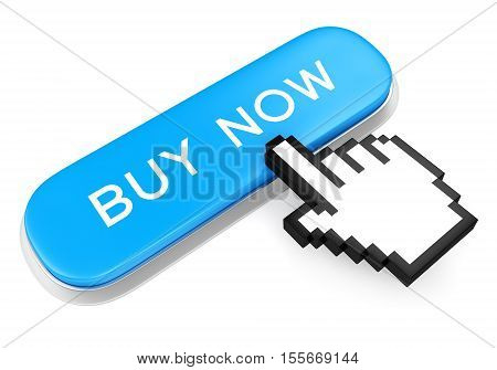 Blue button with text Buy Now and computer mouse hand cursor isolated on white background. 3D illustration