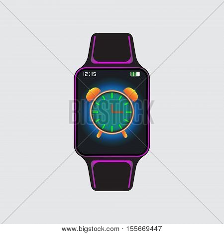 Black smart watch with alarm clock icon. Smart watch vector sign. Isolated smart watch vector icon. Flat smart watch vector image.