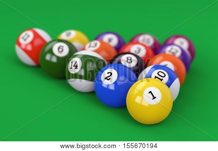 Pool Ball Pyramid On Green Background