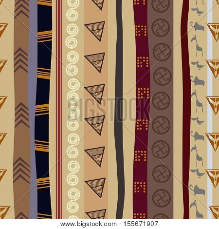 Seamless texture with animals motifs, ethno style