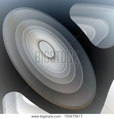 3d illustration. Three-dimensional bionic composition on the theme of science biology radiation. Extruded oval holes and curved shapes in perspective.