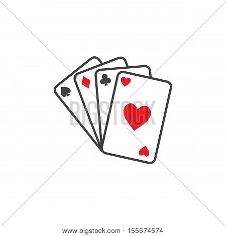 Play cards icon. Outline illustration of play cards vector icon for web
