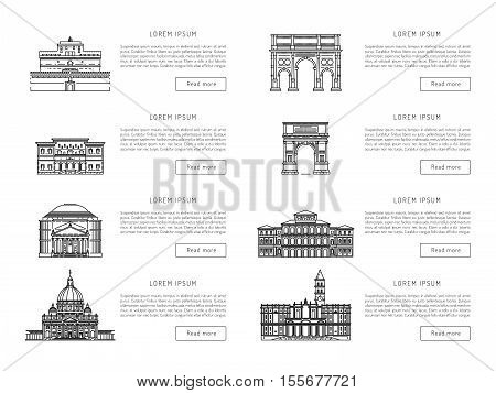 World famous St. Peter Basilica Greatest Landmarks of europe. Linear vector icon for Vatican Rome Italy. Tourist attractions of Rome. Historic buildings from the streets of Rome, outline.