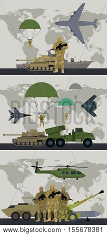 Military infographic banners with world map on background. Military soldier or officer with weapons. Airborne and infantry troops. War and ammunition concept. Men in camouflage combat uniform. Vector