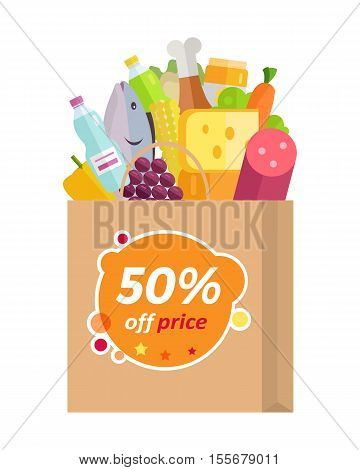 Sale in grocery store vector concept. Flat design. Purchases planning and buying fresh products for a week. Various foods sticking from paper bag with fifty percent discount. For shop, delivery ad