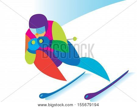 experienced skier carries his attempt in downhill