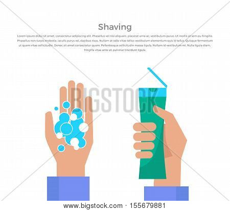 Shaving banner illustration. Human basic hygiene conceptual illustration. Flat design. Tube of shaving gel in hand, foam bubble vector for skin care products ad, cosmetics companies, web page design.