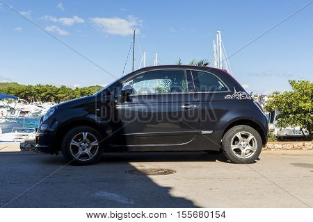 TRIBUNJ, CROATIA - SEPTEMBER 6, 2016: This is the Fiat 500C front-drive hatchback class