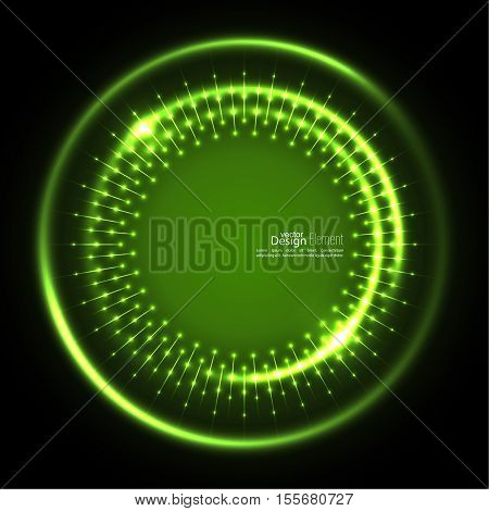 Abstract techno background with spirals and rays with glowing particles. Tech design. Lights vector frame. Glowing dots.  green, jade, malachite, lime