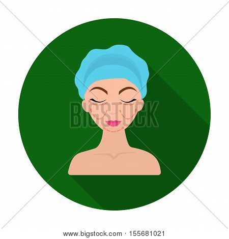 Cosmetic plastic surgery icon in flat style isolated on white background. Skin care symbol vector illustration.