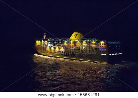Helsinki, Finland - October 25 :the Ferry Boat Tallink Is Moored At The Mooring In Port Of The City