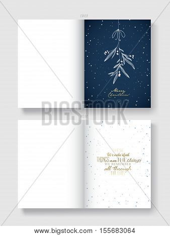 Christmas illustration greeting card template with hanging mistletoe and Christmas wishes - These Wonderful Things are The Things We Remember All Through Our Lives