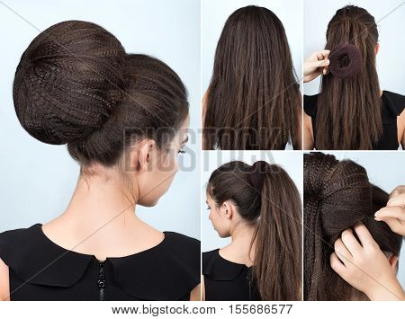 Hairstyle tutorial volume bun with chignon. Hairstyle tutorial for long hair. Hairstyle bun. Tutorial. Hair model. Hairstyle for rippled hair