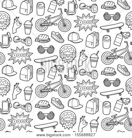 Fashion Patch Seamless Pattern with teenager and sport objects. Pin badges set. Stickers collection. Wallpaper from appliques for denim or clothes. Black and white coloring page.