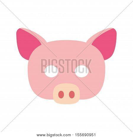 Cartoon piggy mask vector. piglet carnival mask vector illustration holiday symbol.