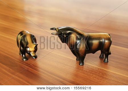 Bull and Bear on the Desk.