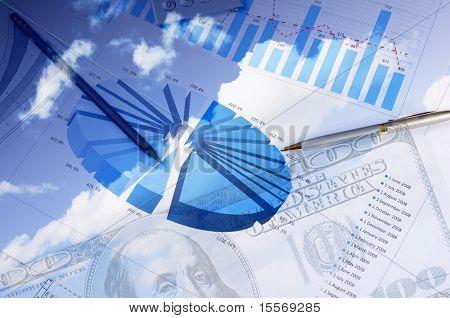 valiosos documentos, gráficos e diagramas - uma colagem