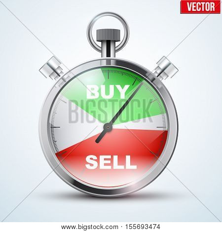Stopwatch for forex trader. Symbol of Time to trading. Buy or Sell. Editable Vector Illustration isolated on white background.