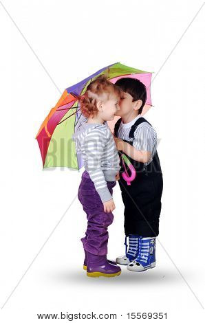 little boy and little girl together under the umbrella of color. On a white background.