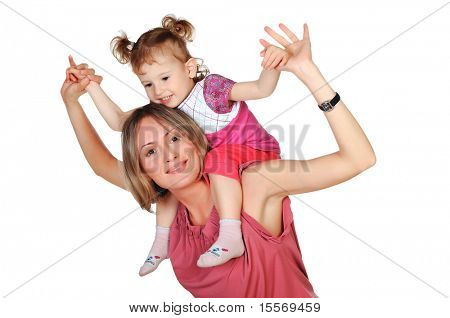 Mom and her young daughter spent time together