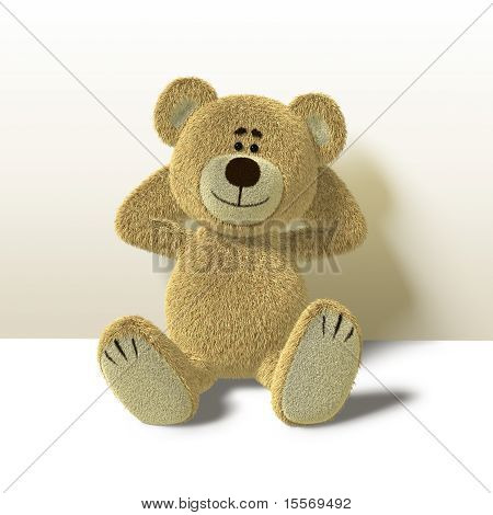 Teddy Bear Leans against Wall, Front
