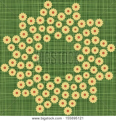 Background Circle Border Frame With Stylized Flowers